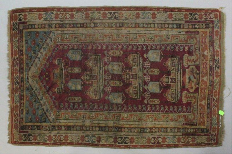 Early Oriental Wool on Wool Prayer Rug