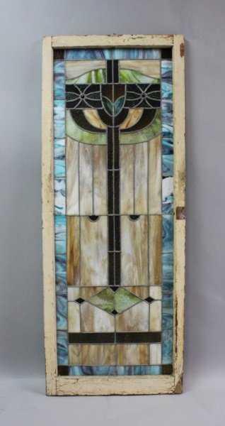Antique Judaica Stained Glass Window W Menorah