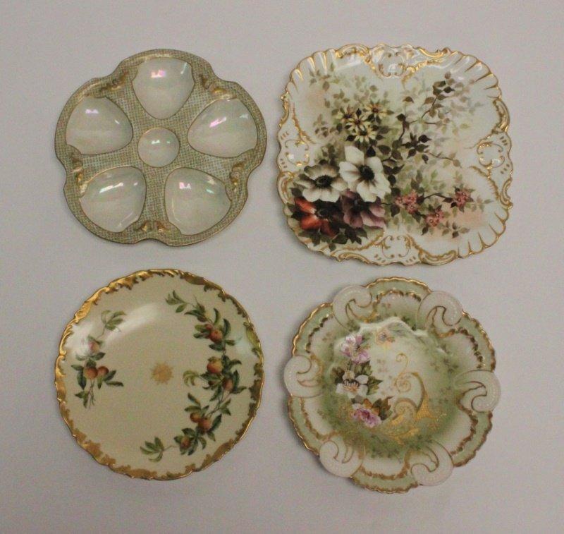 (4) Limoges Porcelain Hand Painted Serving Plates