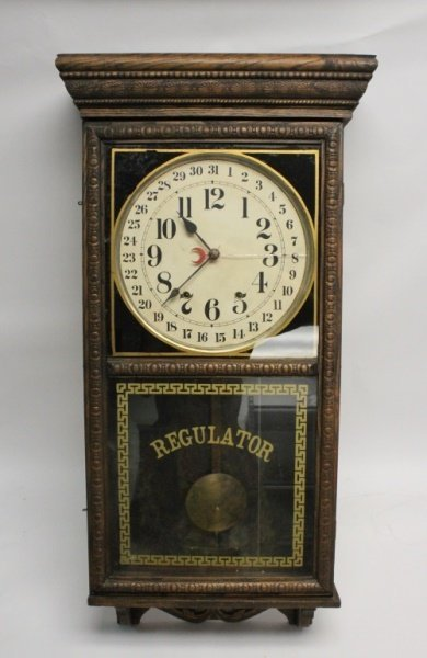 19th C Carved Wood Regulator 31 Day Wall Clock
