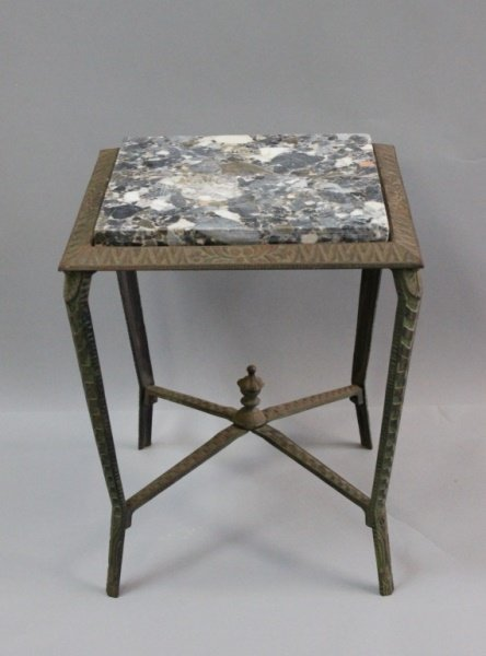 Art Deco Cast Iron & Marble Side Table