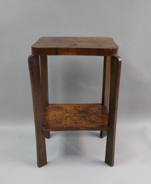 French Art Deco Side Table w Match Grain Mahogany