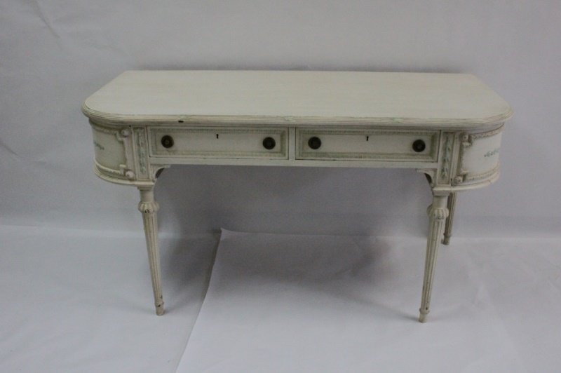 19th C. French Louis XVI Floral Decorated Vanity