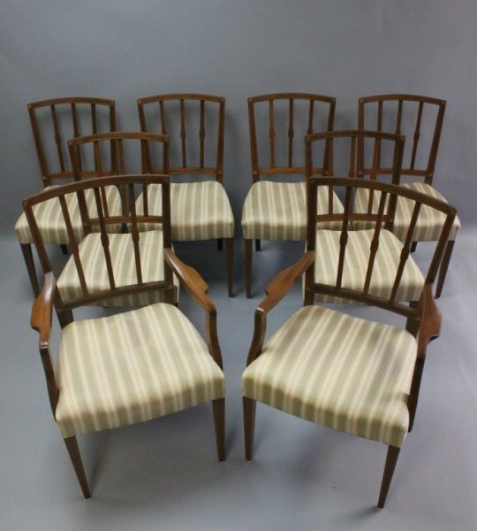 (8) Mahogany Inlaid Federal Style Dining Chairs