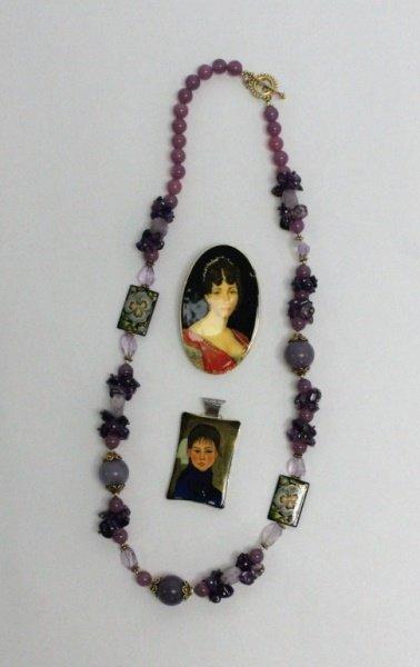 Amy Kahn Russel Necklace & (2) Russian Pendants