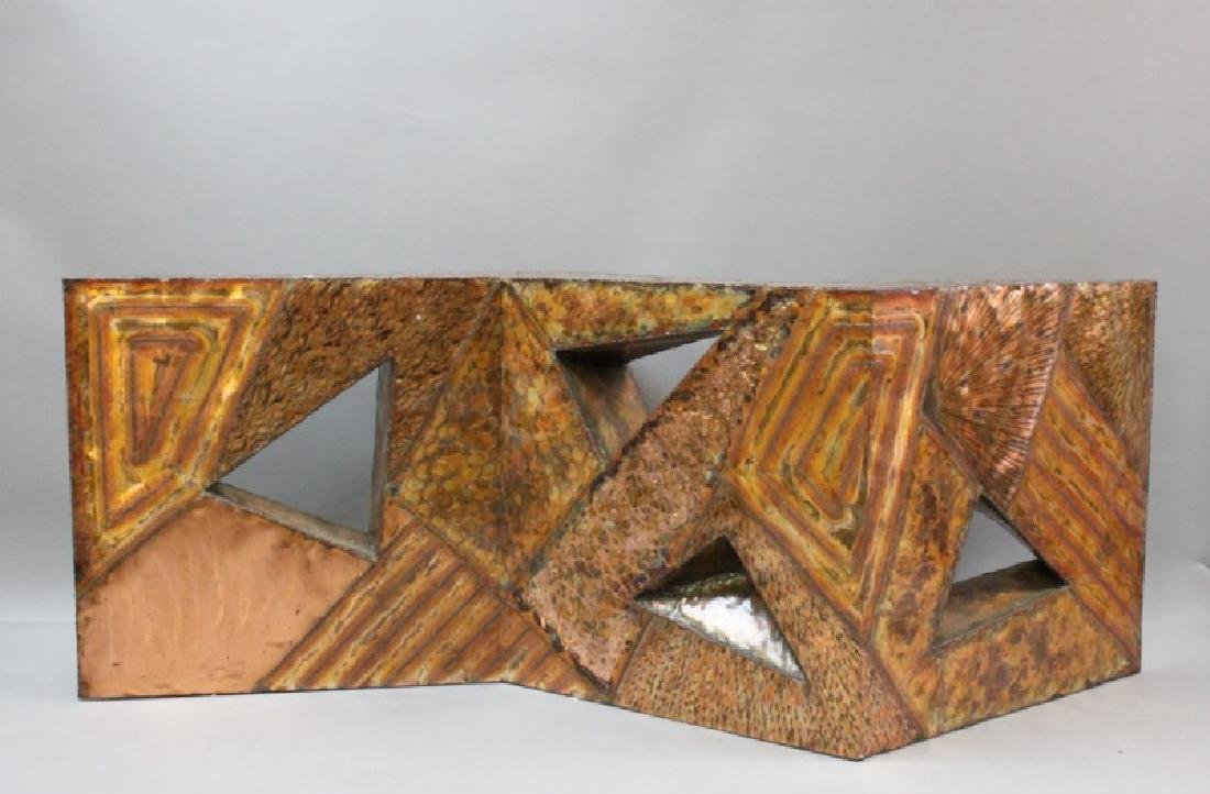 MCM Vintage Brutalist Geometric Copper Table Base
