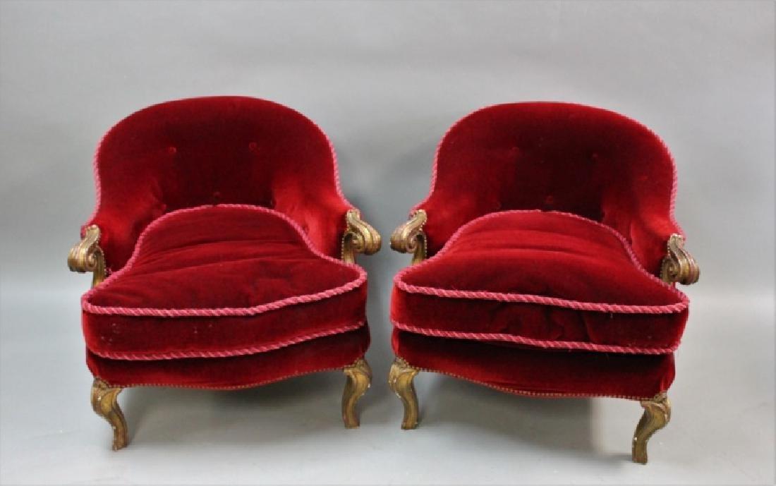 (2) Art Deco Red Velvet Bordello Slipper Chairs