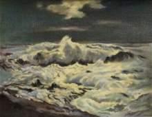 "Marjorie Edwards Oil Painting on Board ""Sea Storm"""