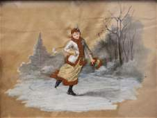 19c Victorian Mixed Media Painting Girl IceSkating
