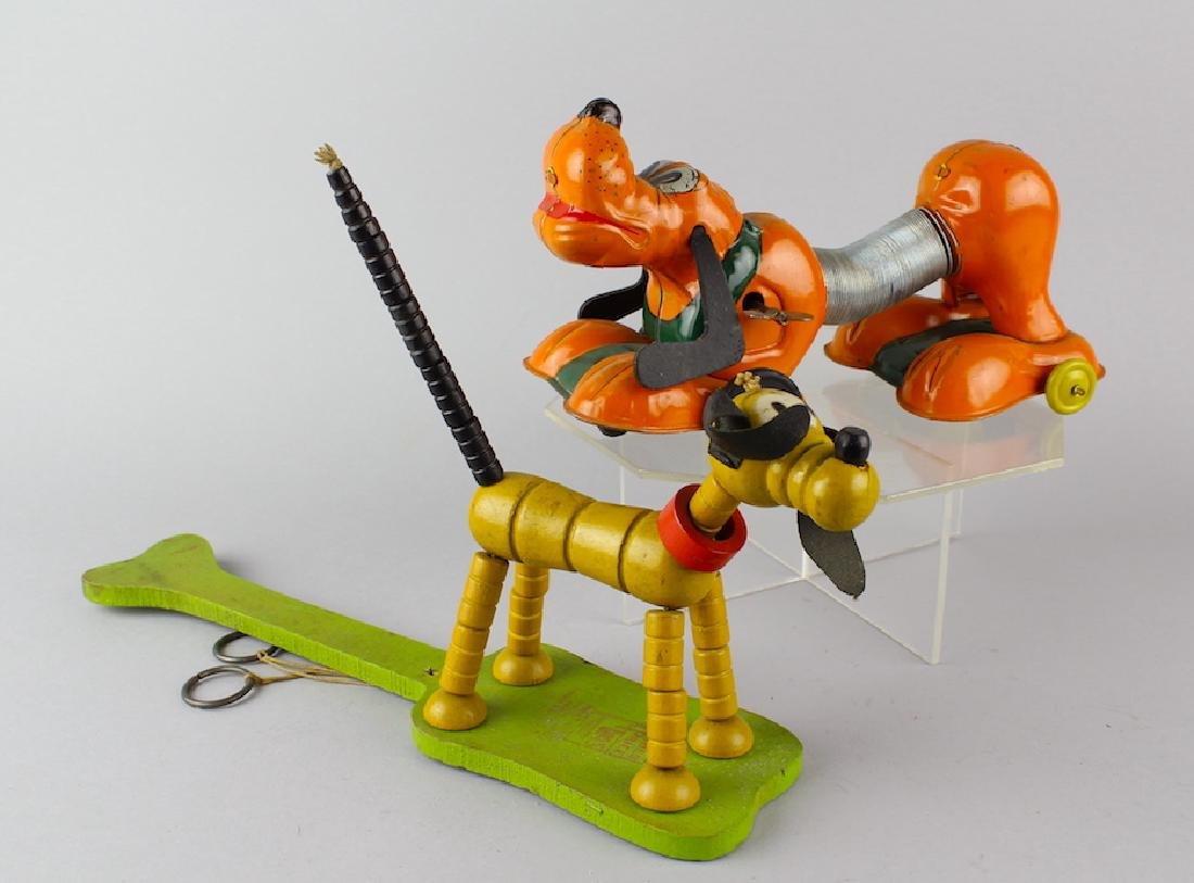Linemar Tin Toy Disney Pluto Dog & Poosh Up Pluto