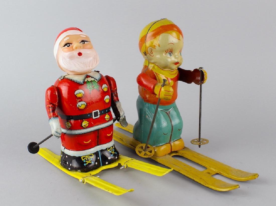 J. Chein Tin Ski Boy & Japan Santa Ski Toy