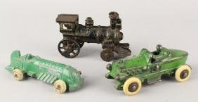Hubley Cast Iron Race Cars & Train