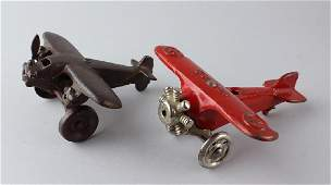 2 Cast iron Airplanes Hubley