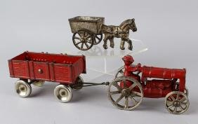 Arcade Tractor and Wagon & Horse Cart