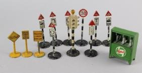 Dinky Traffic Signs & Britains Castrol Oil Display