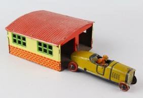 German Tin Penny Toy Race Car and Garage