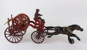 "American Cast Iron Horse Drawn Hose Reel 17"""