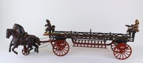 "Ives Phoenix Cast Iron Ladder Wagon 2 Horse Team 27"""