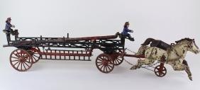 "Ives Phoenix Cast Iron Ladder Wagon 2 Horse Team 28"""