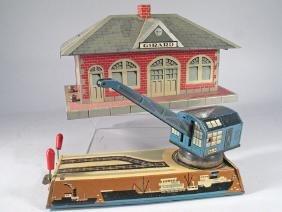Marx Tin Girard Station & Biller German Dock Yard Crane