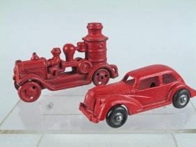 Arcade Cast Iron Fire Sedan Pumper Lot
