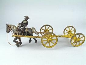 Kenton Cast Iron Horse Drawn Cart 1920's Black Driver