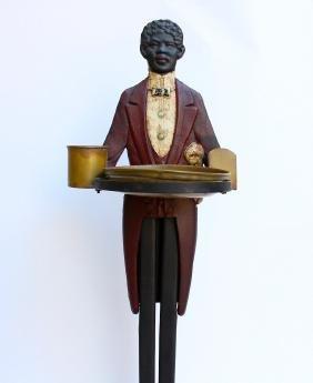 Cast Iron Black Butler Smoking Stand Americana