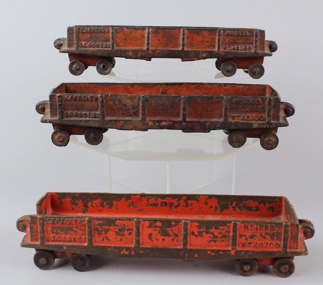 Hubley & Kenton Cast Iron Rail Cars