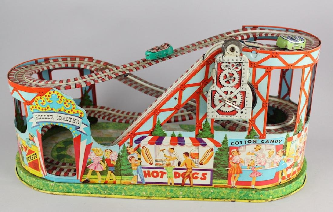 Chein Roller Coaster & 2 Cars