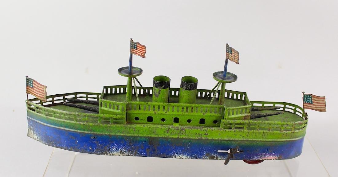 Pre-War Japan Tin Battleship American Flags