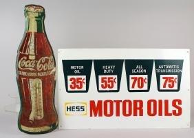 Hess Motor Oil Sign & Coke Thermometer