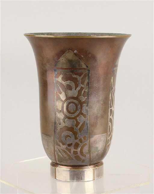 Art Deco Christofle Vase Silver Over Copper