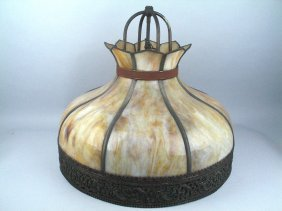 Slag Glass 1880's Gas Lamp Converted Large