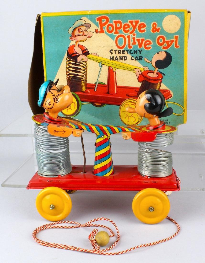 Linemar Popeye & Olive Oyl Stretchy Hand Car in Box