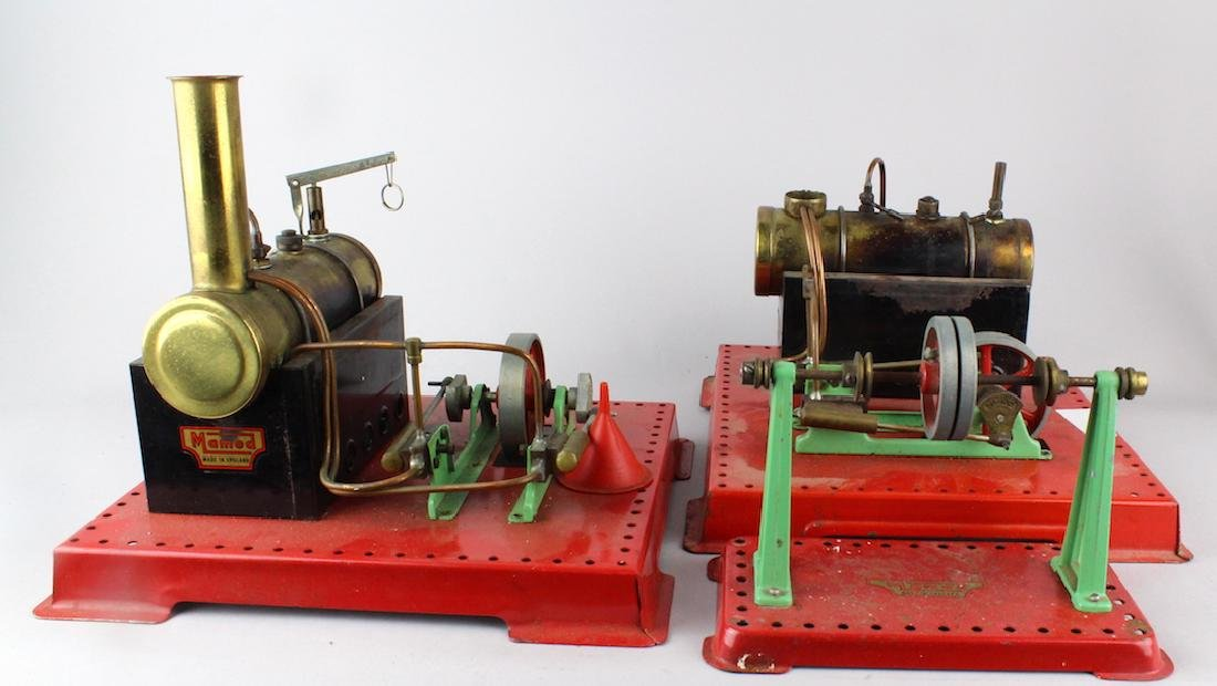 Pair of Mamod Live Steam Engines Brass Boilers
