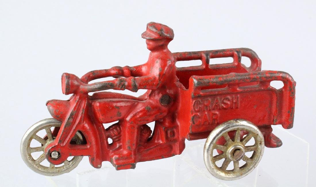 Hubley Cast Iron Motorcycle Crash Car