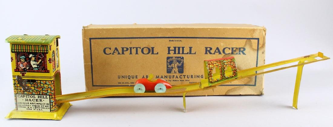 Unique Art Capitol Hill Racer Tin Toy & Box