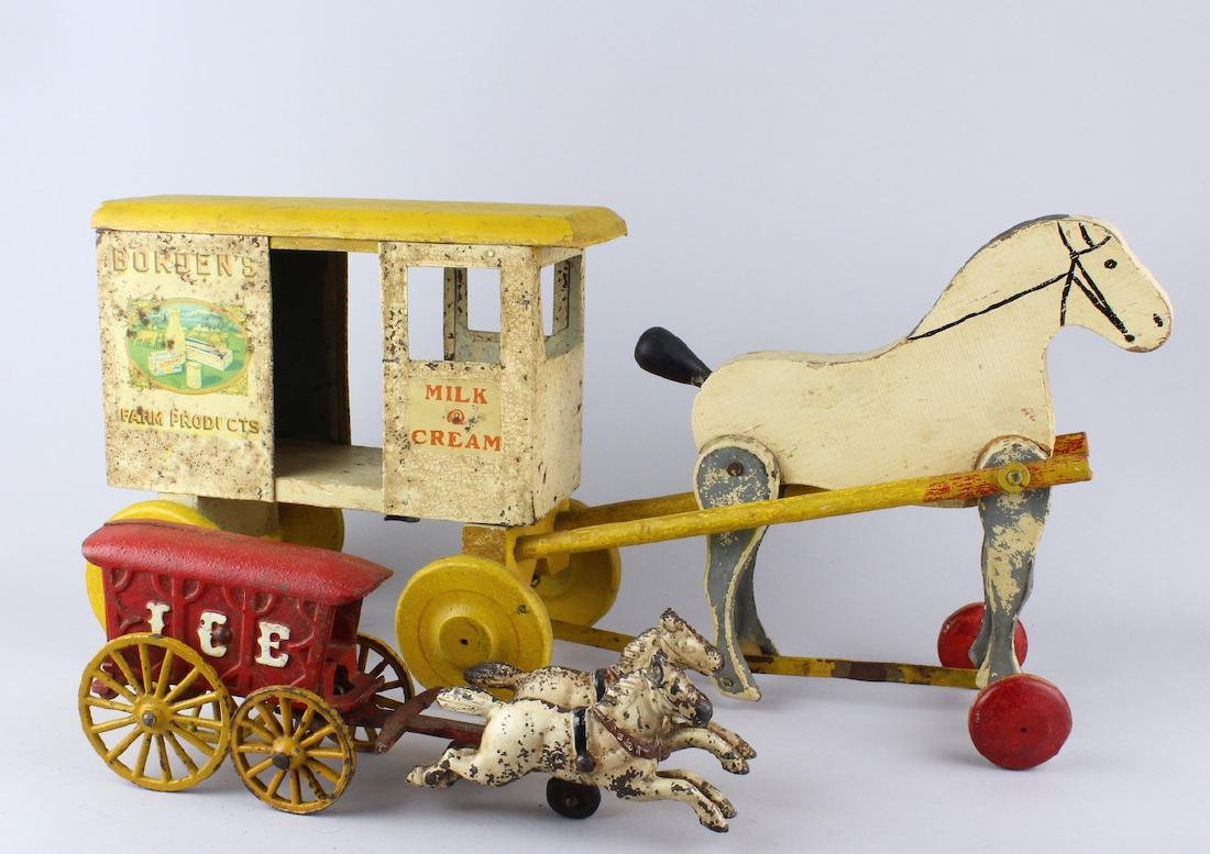 RIch Toys Bordens Milk & Cream Horse Wagon & Ice Cart