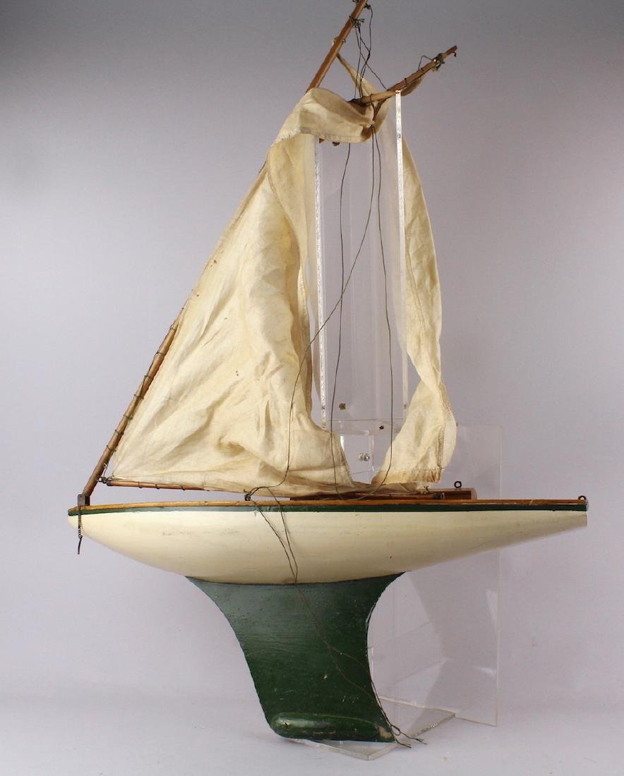 1930s  Sailboat Pond Boat with Wood Deck