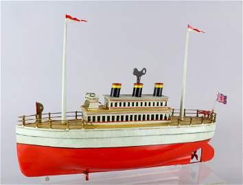 Stately Ocean Liner German Ship Carette/Bing 3 Stack