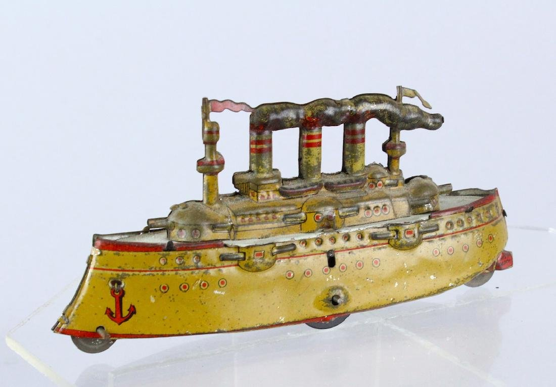 1900s Meier German Tin Penny Toy Battleship