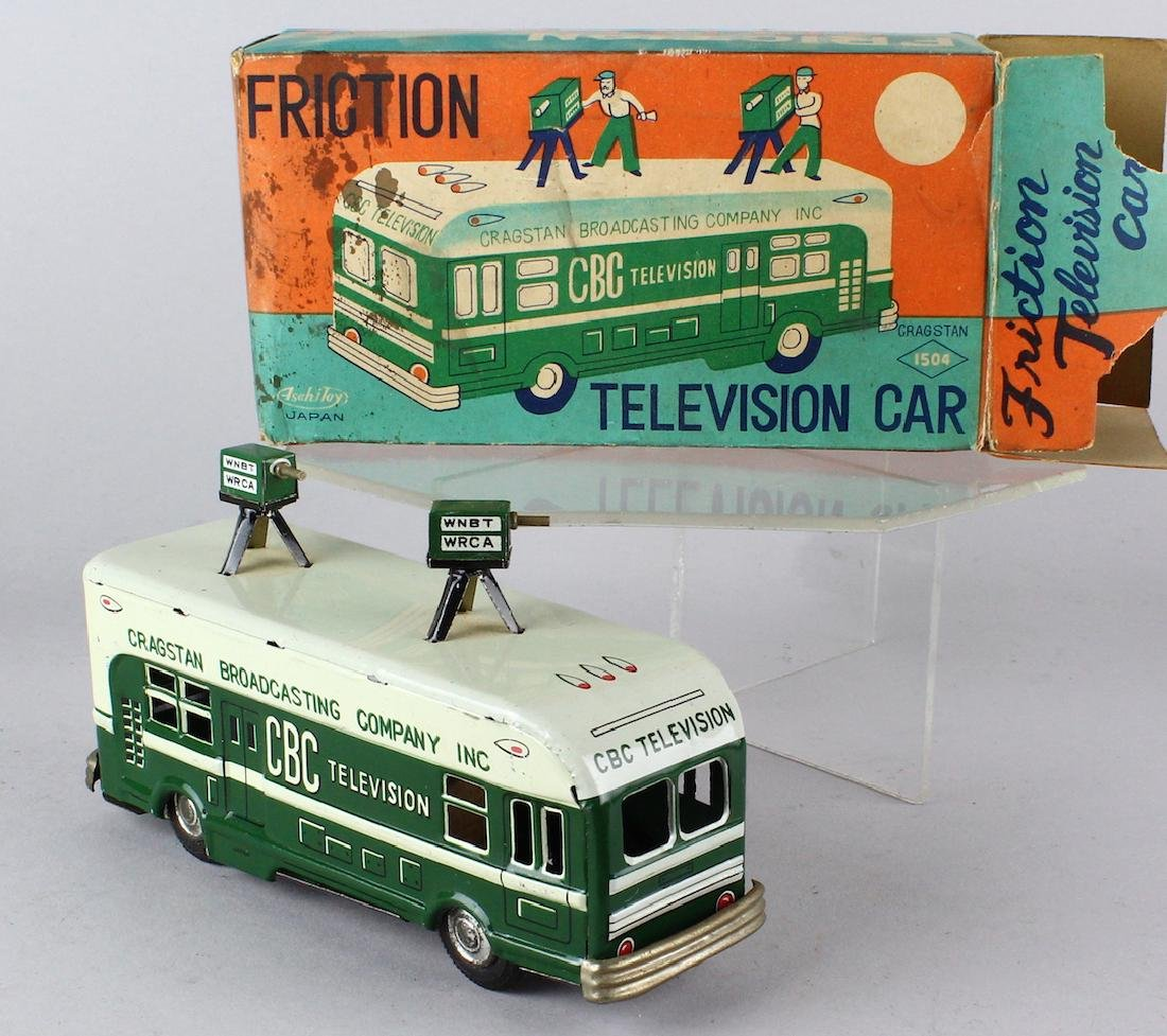 1950s Cragstan Japan Tin Television Car In Box