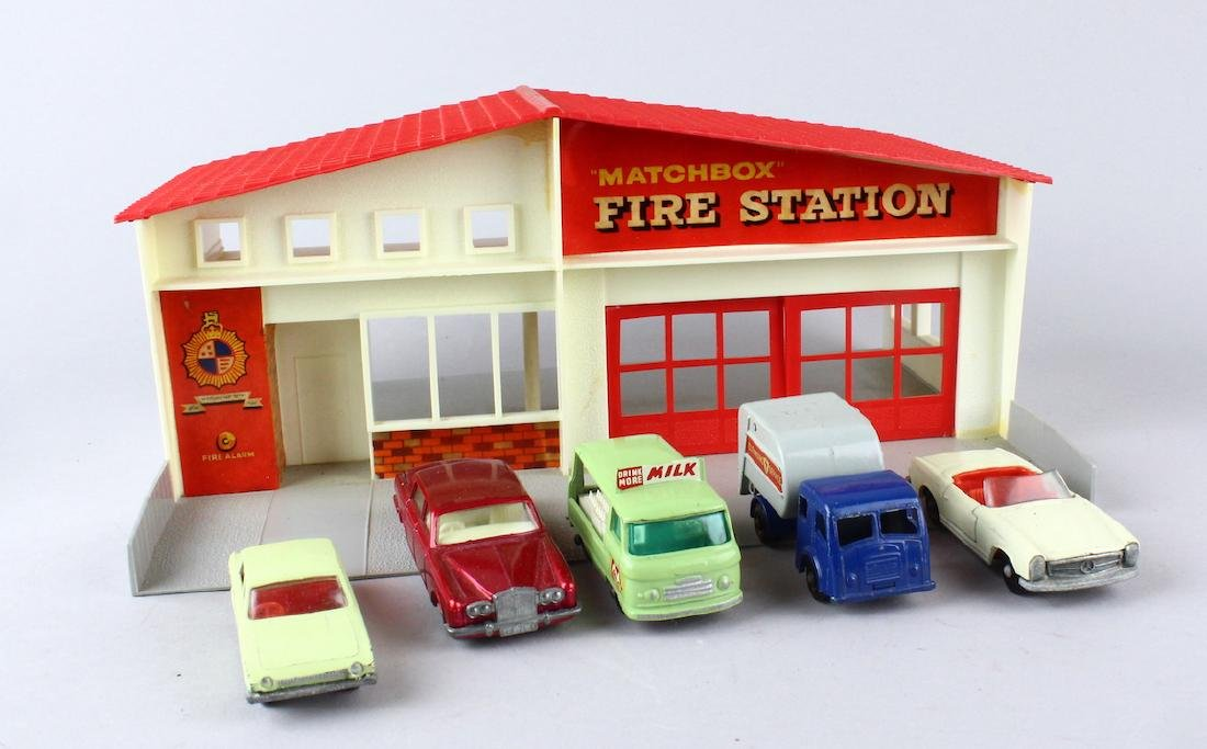 Matchbox Fire Station and Cars