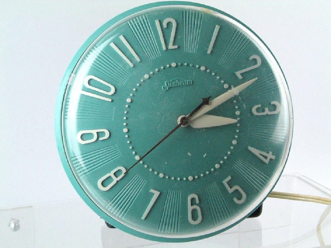 Sunbeam Teal Mid Century Clock