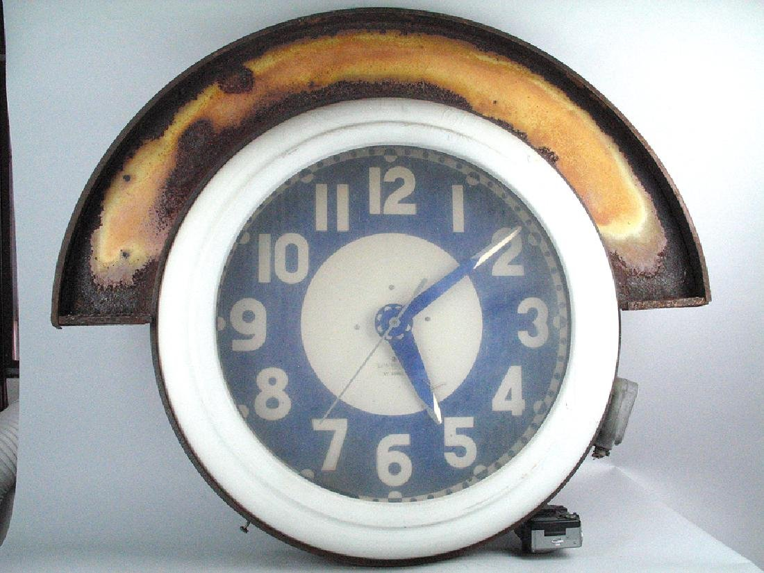 Electric Neon Light Co Service Station Clock