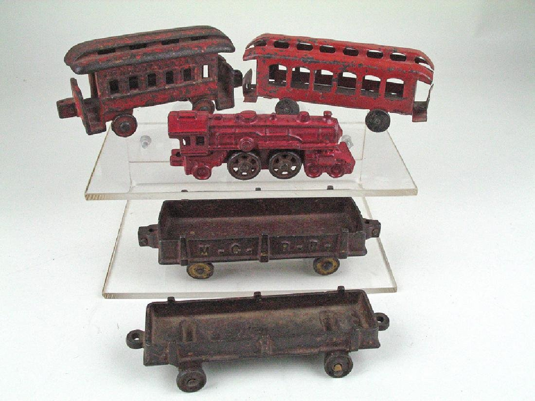 Cast Iron Tin Railroad Car Lot
