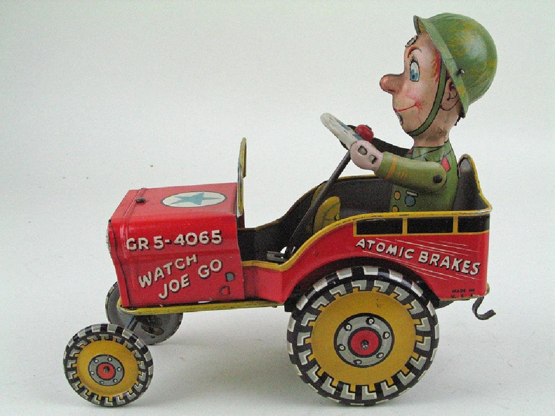 Unique GI Joe Jeep Wind Up Tin Litho