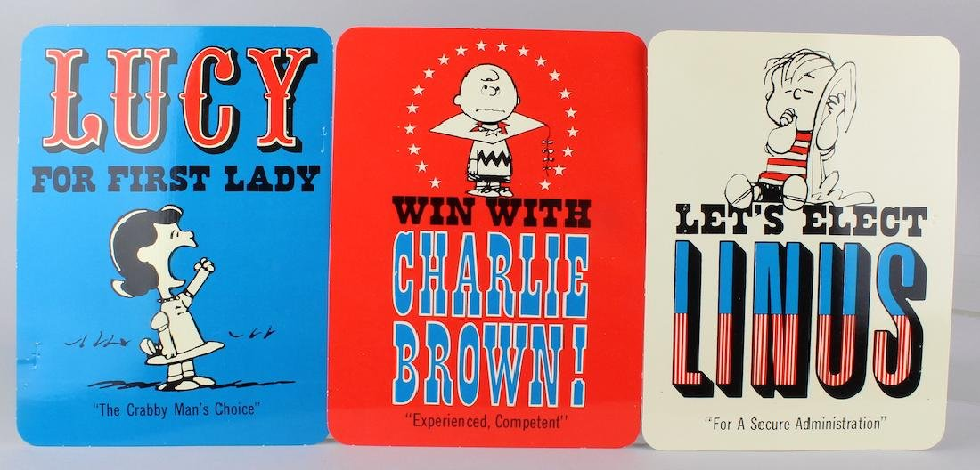 3 1968 Peanuts For President Original Cartoon