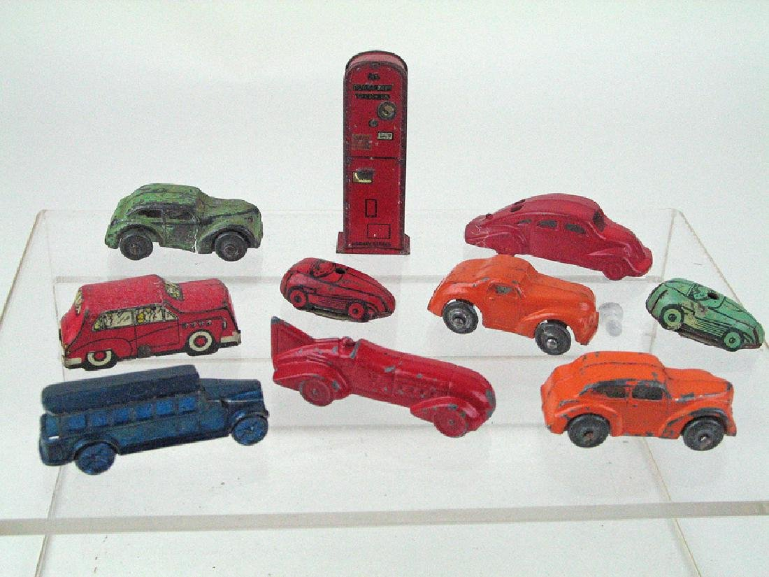 1930's Slush and Tin Car Lot with Gas Tank & Racer