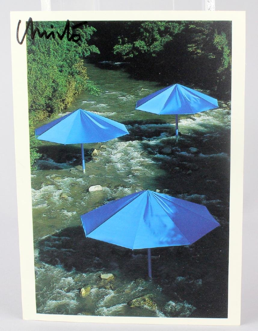 Christo Artist Signed Card The Umbrellas